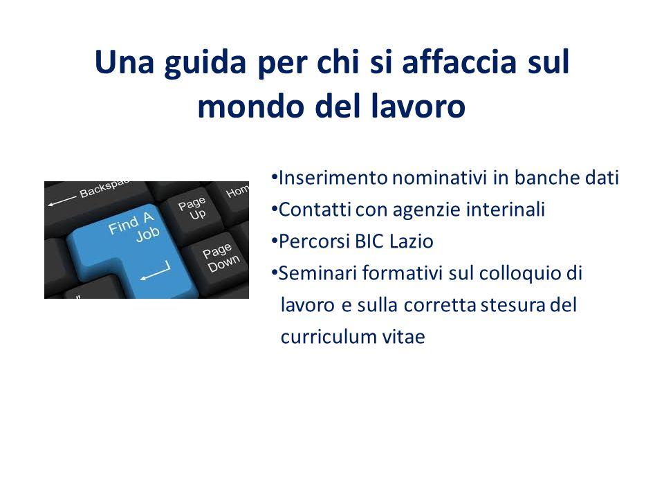 Una guida per chi si affaccia sul mondo del lavoro Inserimento nominativi in banche dati Contatti con agenzie interinali Percorsi BIC Lazio Seminari f