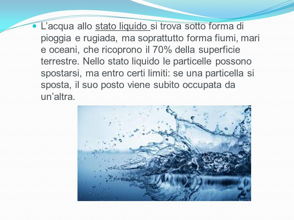 L'acqua allo stato liquido si trova sotto forma di pioggia e rugiada, ma soprattutto forma fiumi, mari e oceani, che ricoprono il 70% della superficie