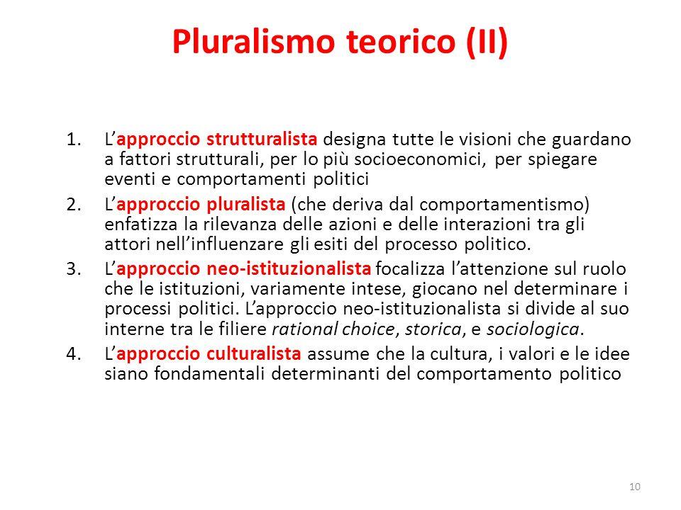 Pluralismo teorico (II) 1.L'approccio strutturalista designa tutte le visioni che guardano a fattori strutturali, per lo più socioeconomici, per spieg