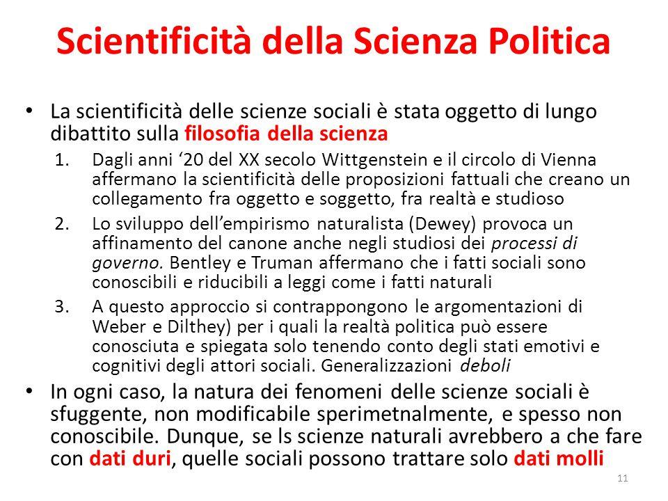 Scientificità della Scienza Politica La scientificità delle scienze sociali è stata oggetto di lungo dibattito sulla filosofia della scienza 1.Dagli a
