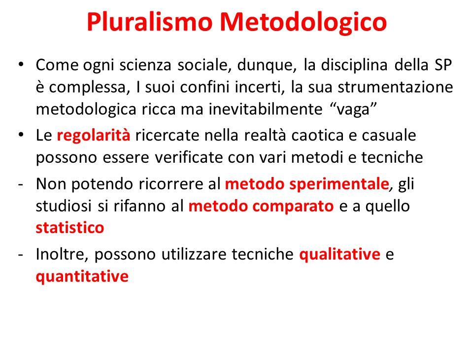 Pluralismo Metodologico Come ogni scienza sociale, dunque, la disciplina della SP è complessa, I suoi confini incerti, la sua strumentazione metodolog