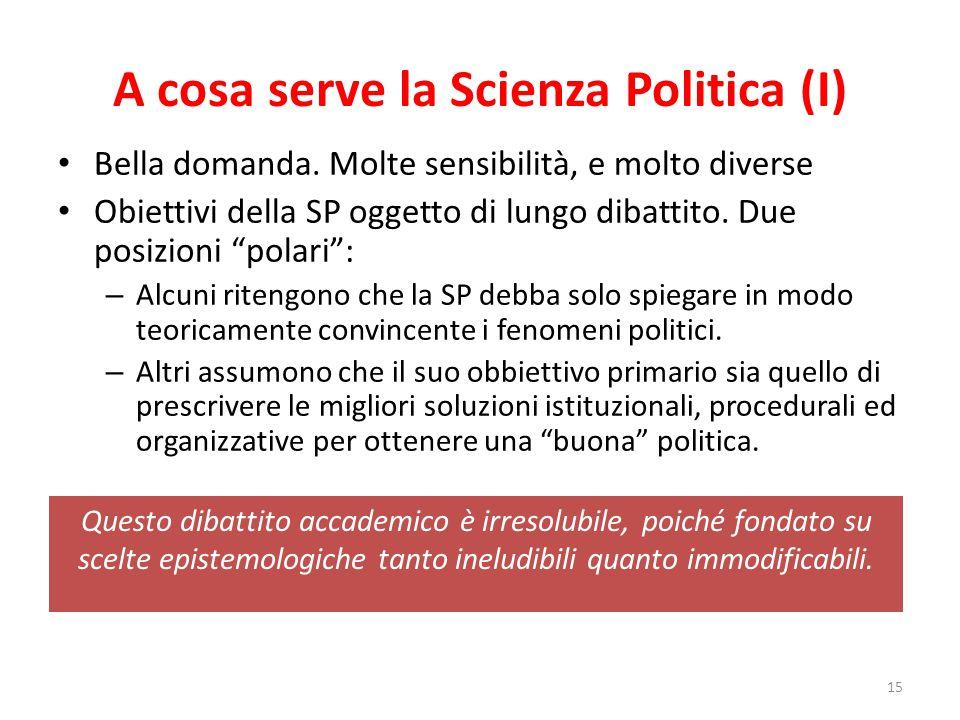 """A cosa serve la Scienza Politica (I) Bella domanda. Molte sensibilità, e molto diverse Obiettivi della SP oggetto di lungo dibattito. Due posizioni """"p"""