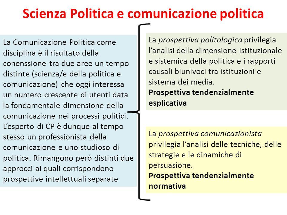Scienza Politica e comunicazione politica La Comunicazione Politica come disciplina è il risultato della conenssione tra due aree un tempo distinte (s