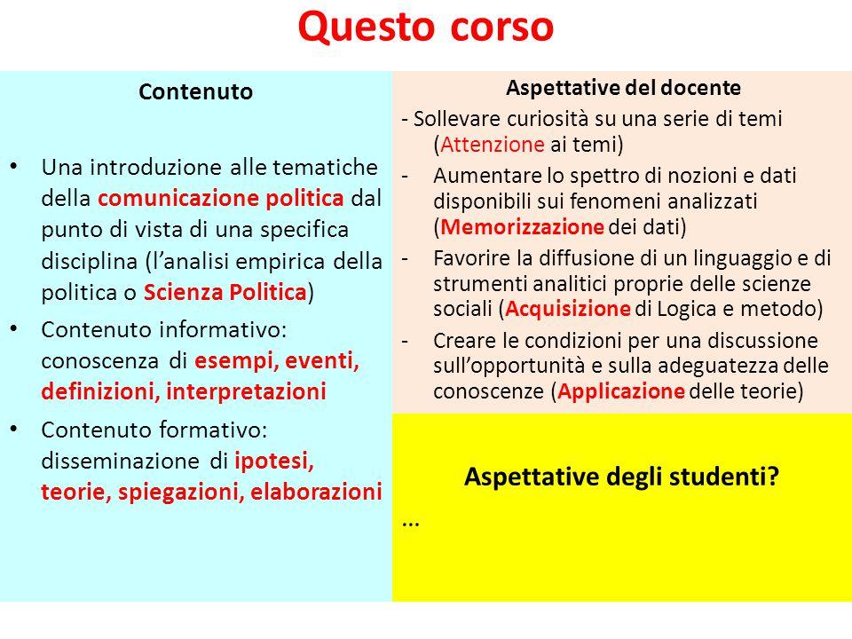 Questo corso Contenuto Una introduzione alle tematiche della comunicazione politica dal punto di vista di una specifica disciplina (l'analisi empirica