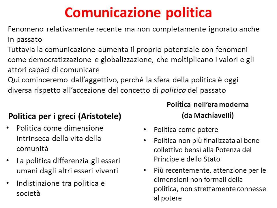 Comunicazione politica Politica per i greci (Aristotele) Politica come dimensione intrinseca della vita della comunità La politica differenzia gli ess