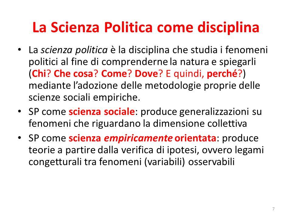 La Scienza Politica come disciplina La scienza politica è la disciplina che studia i fenomeni politici al fine di comprenderne la natura e spiegarli (