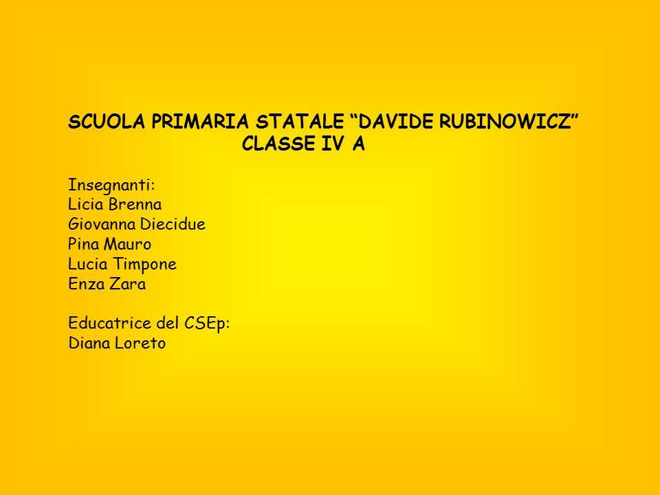 """SCUOLA PRIMARIA STATALE """"DAVIDE RUBINOWICZ"""" CLASSE IV A Insegnanti: Licia Brenna Giovanna Diecidue Pina Mauro Lucia Timpone Enza Zara Educatrice del C"""