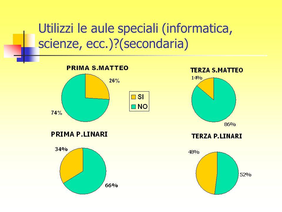 Utilizzi le aule speciali (informatica, scienze, ecc.)?(secondaria)