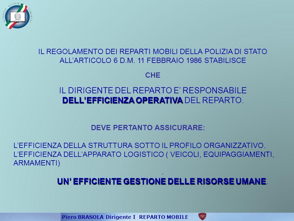 DELL'EFFICIENZA OPERATIVA IL REGOLAMENTO DEI REPARTI MOBILI DELLA POLIZIA DI STATO ALL'ARTICOLO 6 D.M. 11 FEBBRAIO 1986 STABILISCE CHE IL DIRIGENTE DE