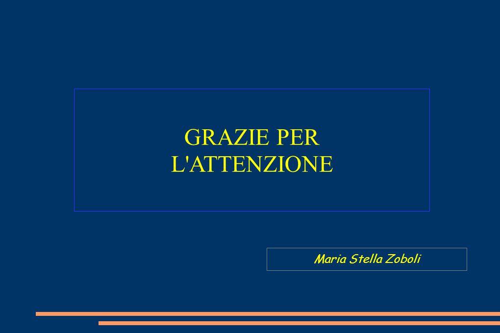 GRAZIE PER L'ATTENZIONE Maria Stella Zoboli