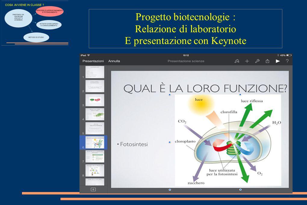 Progetto biotecnologie : Relazione di laboratorio E presentazione con Keynote