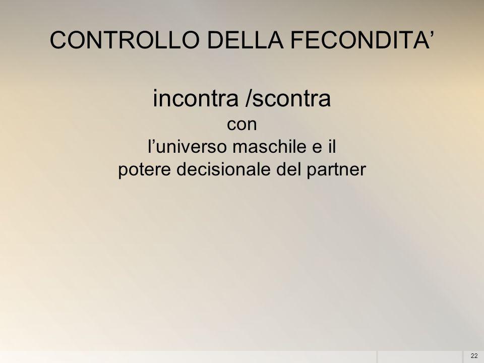 22 CONTROLLO DELLA FECONDITA' incontra /scontra con l'universo maschile e il potere decisionale del partner