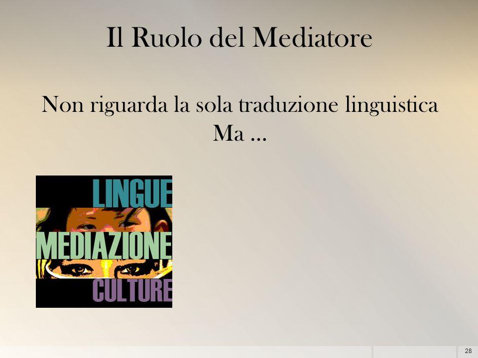 28 Il Ruolo del Mediatore Non riguarda la sola traduzione linguistica Ma …