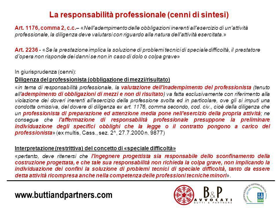 www.buttiandpartners.com La responsabilità professionale (cenni di sintesi) Art.