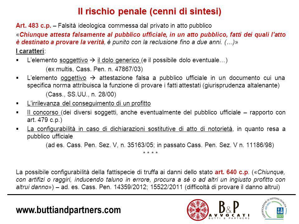 www.buttiandpartners.com Il rischio penale (cenni di sintesi) Art.