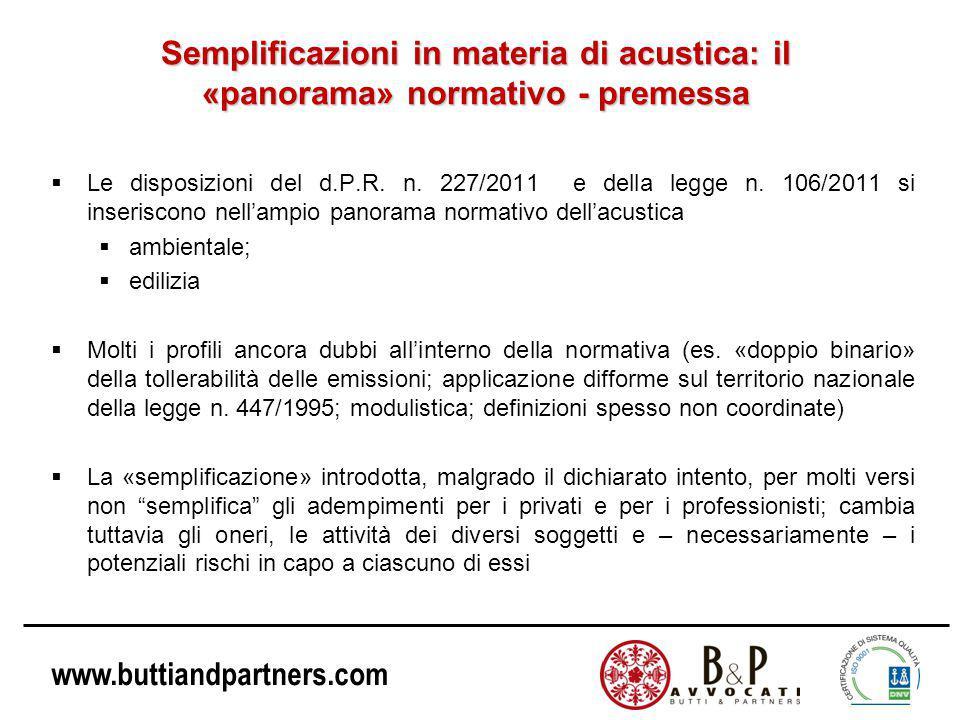 www.buttiandpartners.com Semplificazioni in materia di acustica: il «panorama» normativo - premessa  Le disposizioni del d.P.R.