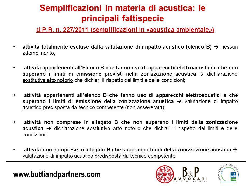 www.buttiandpartners.com Semplificazioni in materia di acustica: le principali fattispecie d.P.R.