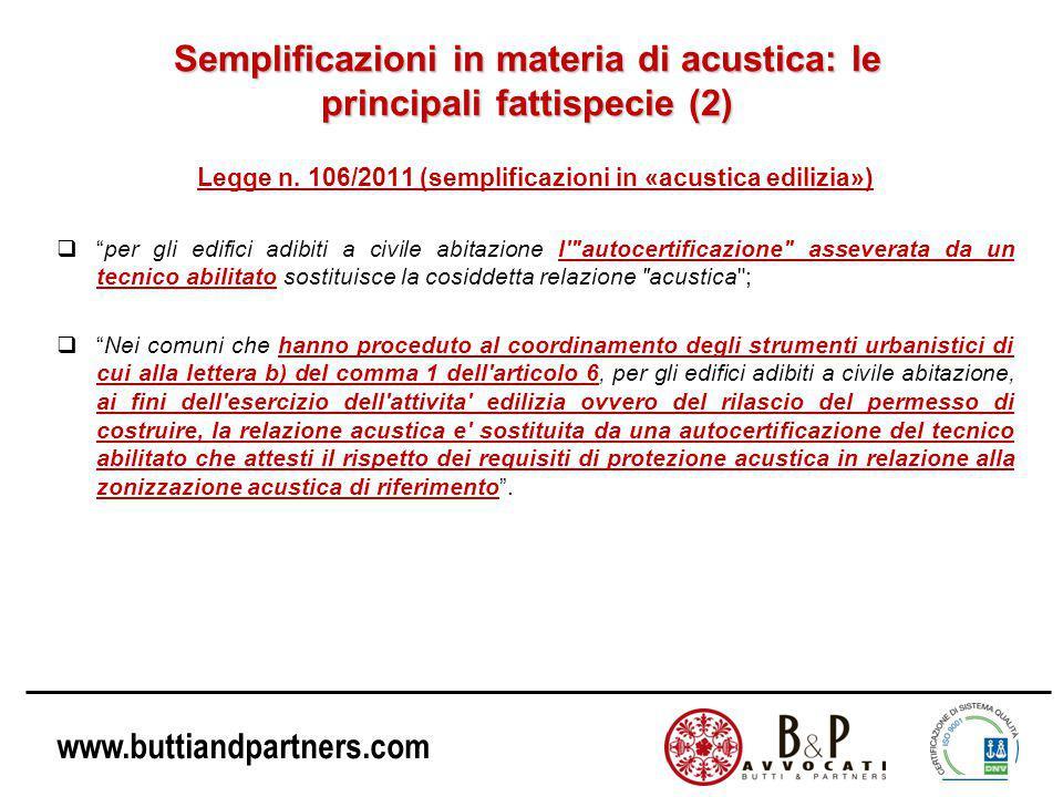 www.buttiandpartners.com Semplificazioni in materia di acustica: le principali fattispecie (2) Legge n.