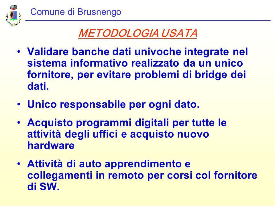 Comune di Brusnengo METODOLOGIA USATA Validare banche dati univoche integrate nel sistema informativo realizzato da un unico fornitore, per evitare problemi di bridge dei dati.