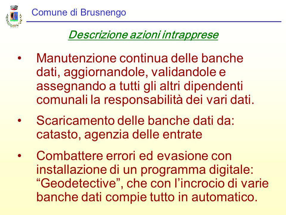 Comune di Brusnengo Descrizione azioni intrapprese Manutenzione continua delle banche dati, aggiornandole, validandole e assegnando a tutti gli altri dipendenti comunali la responsabilità dei vari dati.