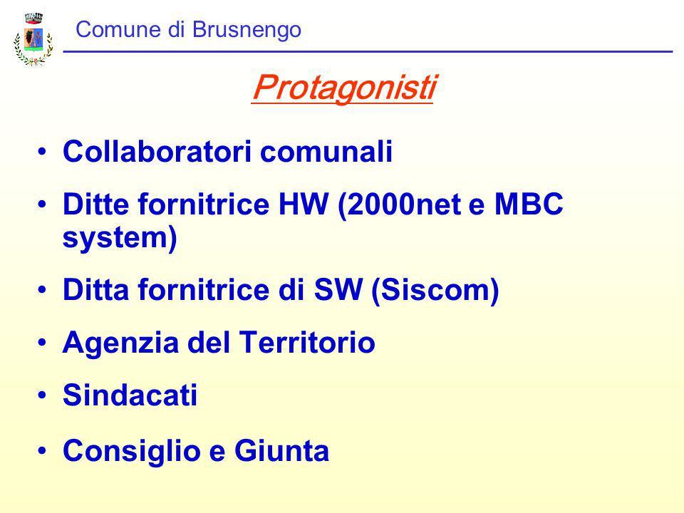 Comune di Brusnengo Protagonisti Collaboratori comunali Ditte fornitrice HW (2000net e MBC system) Ditta fornitrice di SW (Siscom) Agenzia del Territorio Sindacati Consiglio e Giunta