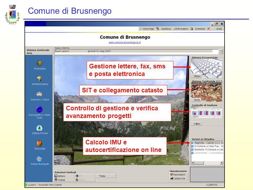 Comune di Brusnengo Gestione lettere, fax, sms e posta elettronica SIT e collegamento catastoControllo di gestione e verifica avanzamento progetti Calcolo IMU e autocertificazione on line