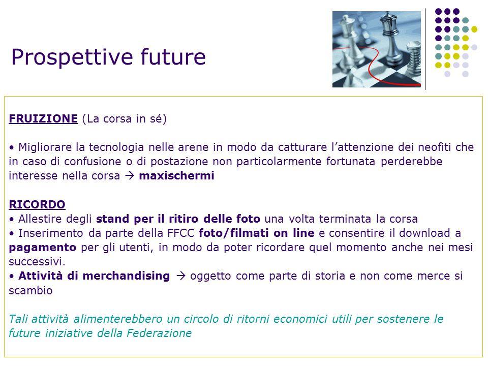 Prospettive future FRUIZIONE (La corsa in sé) Migliorare la tecnologia nelle arene in modo da catturare l'attenzione dei neofiti che in caso di confus