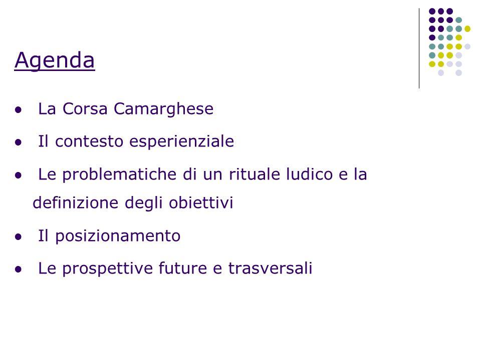 Agenda La Corsa Camarghese Il contesto esperienziale Le problematiche di un rituale ludico e la definizione degli obiettivi Il posizionamento Le prosp