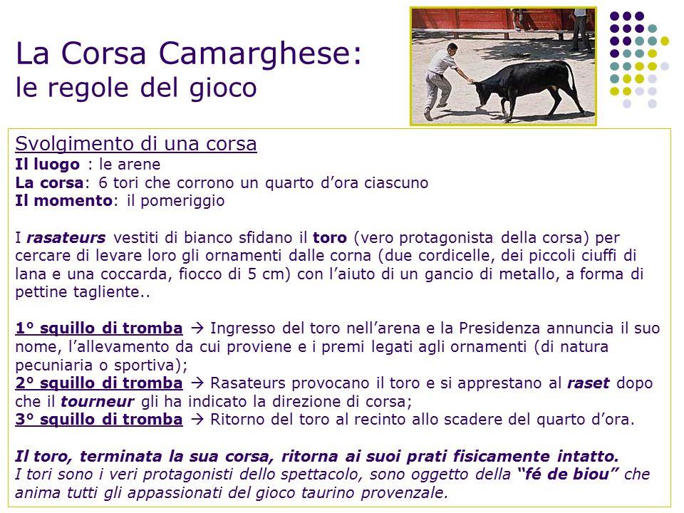 La Corsa Camarghese: le regole del gioco Svolgimento di una corsa Il luogo : le arene La corsa: 6 tori che corrono un quarto d'ora ciascuno Il momento