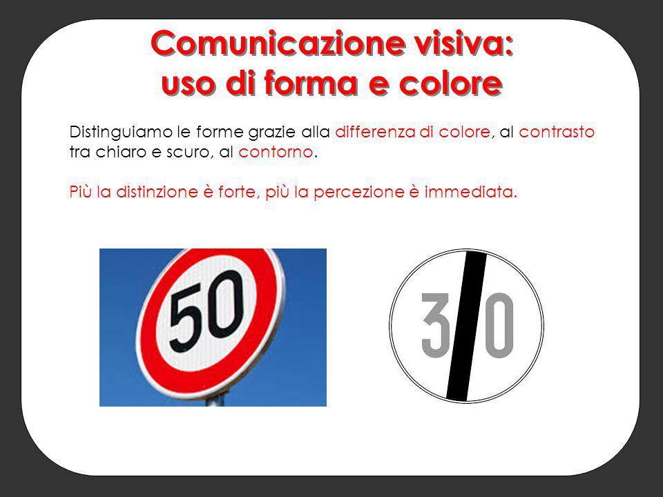 Comunicazione visiva: uso di forma e colore Distinguiamo le forme grazie alla differenza di colore, al contrasto tra chiaro e scuro, al contorno. Più