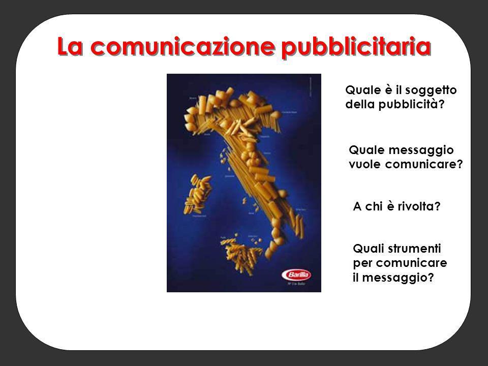 La comunicazione pubblicitaria Quale è il soggetto della pubblicità? Quale messaggio vuole comunicare? A chi è rivolta? Quali strumenti per comunicare