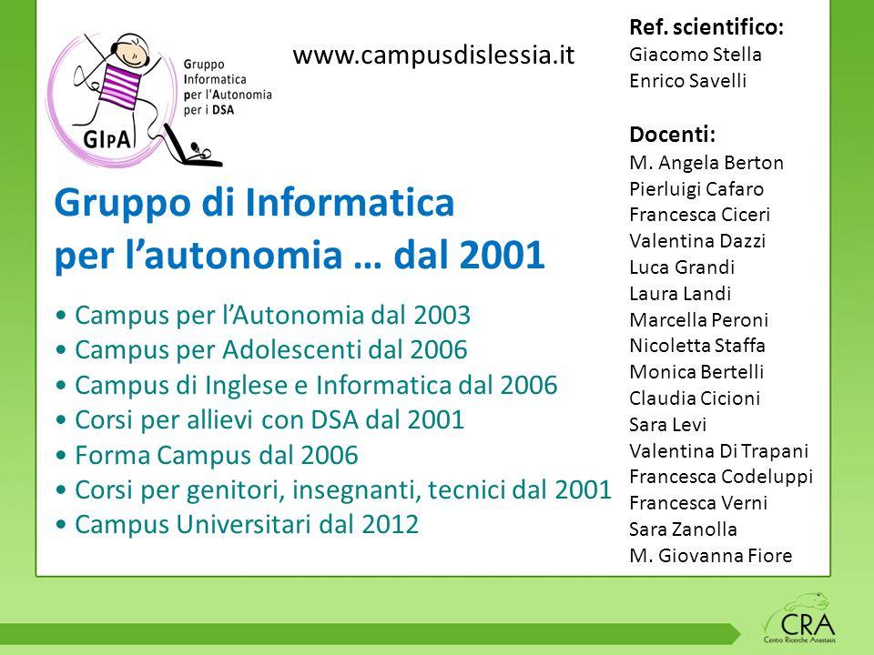 Gruppo di Informatica per l'autonomia … dal 2001 Campus per l'Autonomia dal 2003 Campus per Adolescenti dal 2006 Campus di Inglese e Informatica dal 2006 Corsi per allievi con DSA dal 2001 Forma Campus dal 2006 Corsi per genitori, insegnanti, tecnici dal 2001 Campus Universitari dal 2012 Ref.