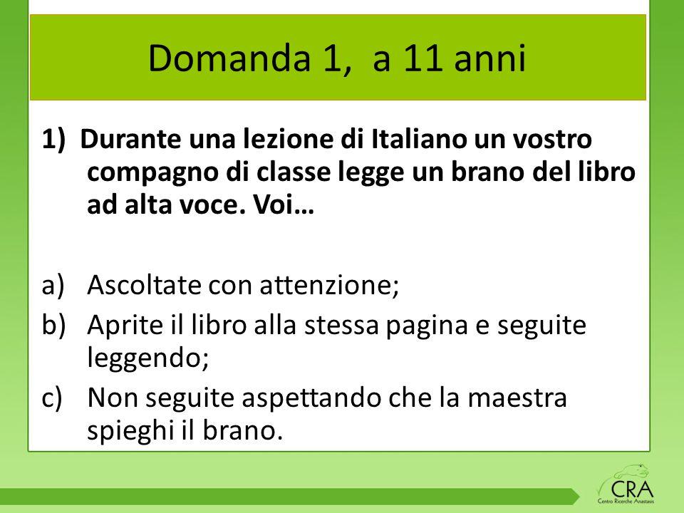 Domanda 1, a 11 anni 1) Durante una lezione di Italiano un vostro compagno di classe legge un brano del libro ad alta voce.