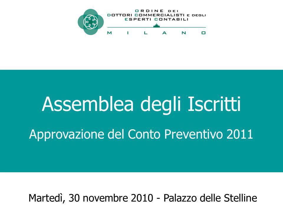 Martedì, 30 novembre 2010 - Palazzo delle Stelline Assemblea degli Iscritti Approvazione del Conto Preventivo 2011