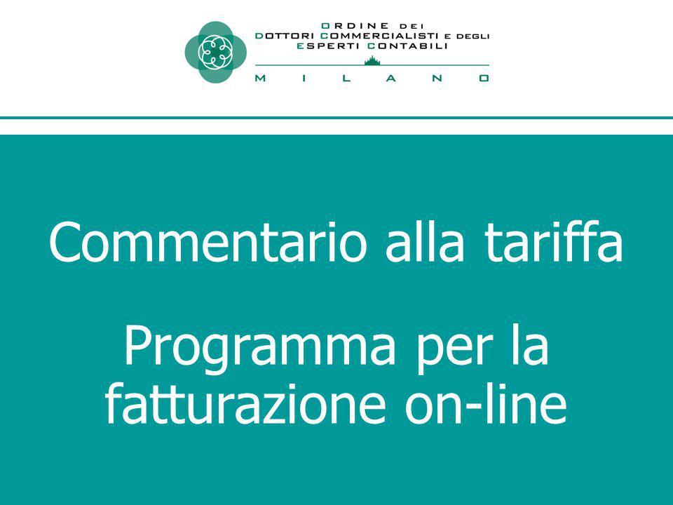 Commentario alla tariffa Programma per la fatturazione on-line