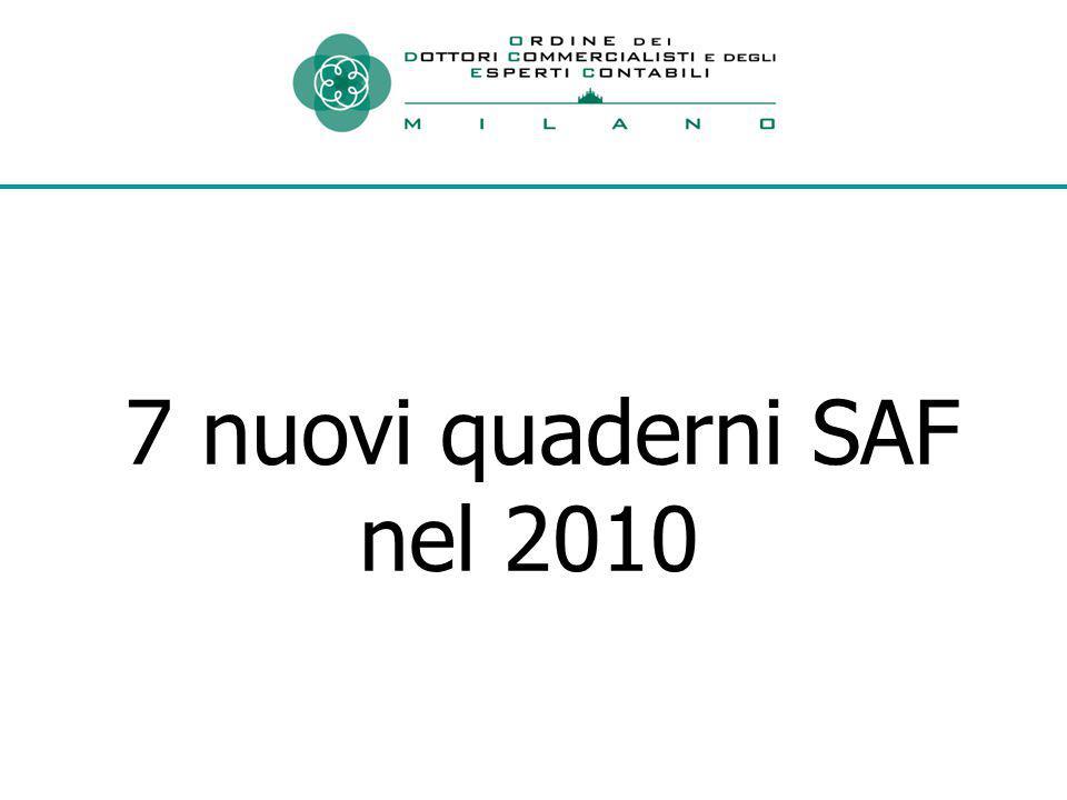 7 nuovi quaderni SAF nel 2010