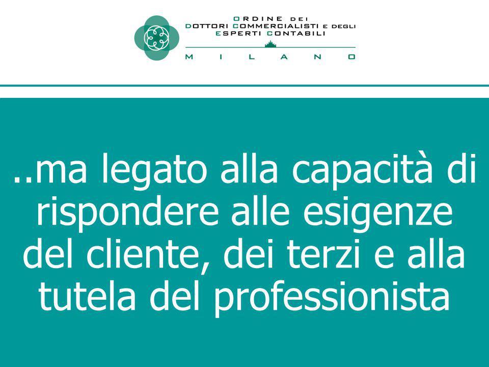 ..ma legato alla capacità di rispondere alle esigenze del cliente, dei terzi e alla tutela del professionista