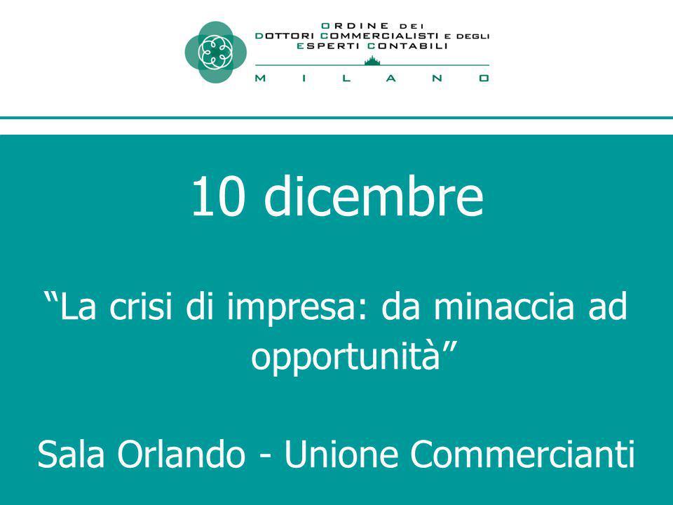 10 dicembre La crisi di impresa: da minaccia ad opportunità Sala Orlando - Unione Commercianti