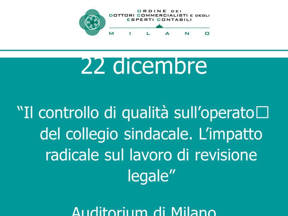 22 dicembre Il controllo di qualità sull'operato del collegio sindacale.