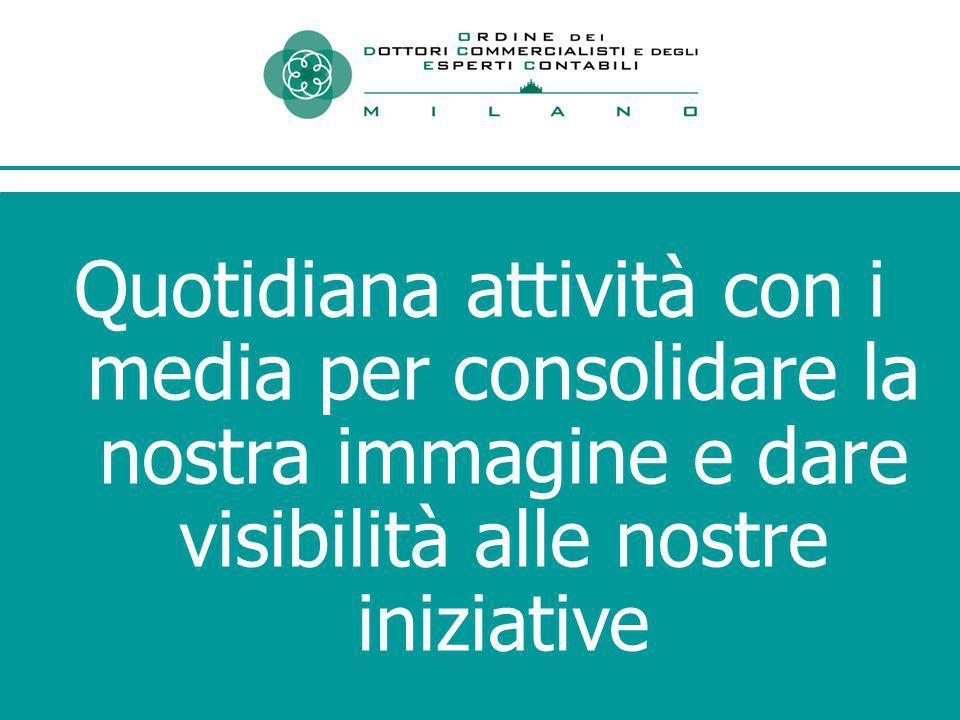 Quotidiana attività con i media per consolidare la nostra immagine e dare visibilità alle nostre iniziative