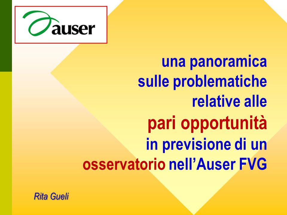 una panoramica sulle problematiche relative alle pari opportunità in previsione di un osservatorio nell'Auser FVG Rita Gueli