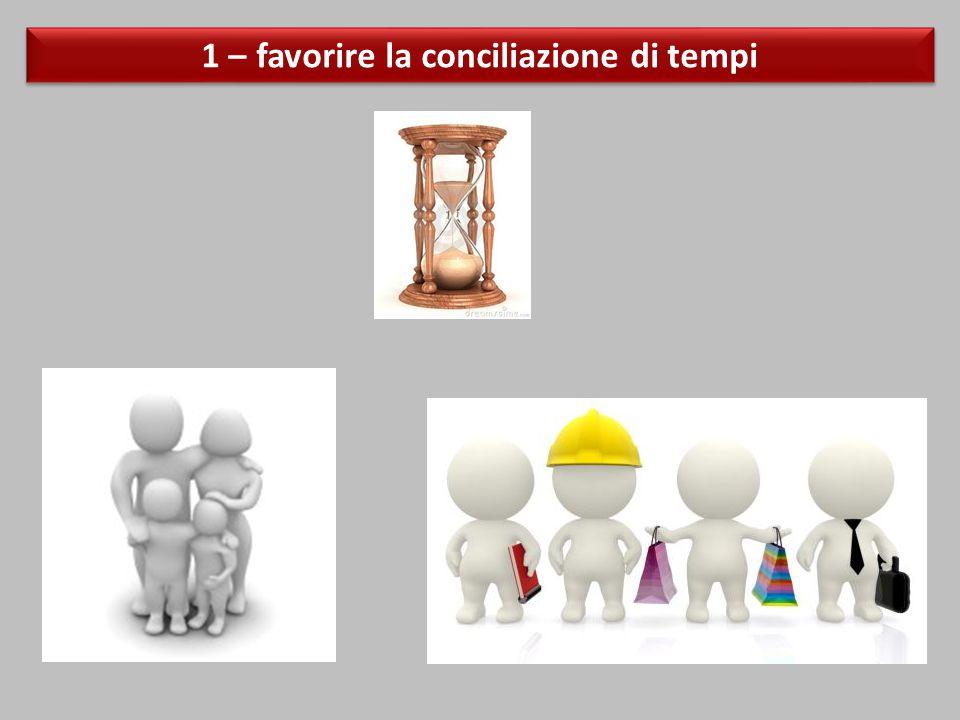 1 – favorire la conciliazione di tempi