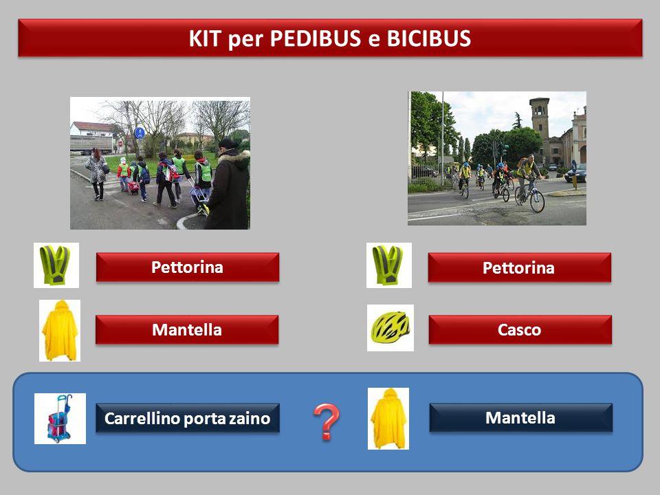 KIT per PEDIBUS e BICIBUS Mantella Carrellino porta zaino Pettorina Mantella Casco Pettorina