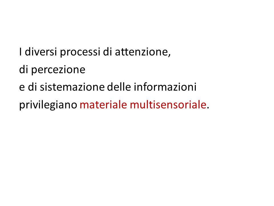 I diversi processi di attenzione, di percezione e di sistemazione delle informazioni privilegiano materiale multisensoriale.
