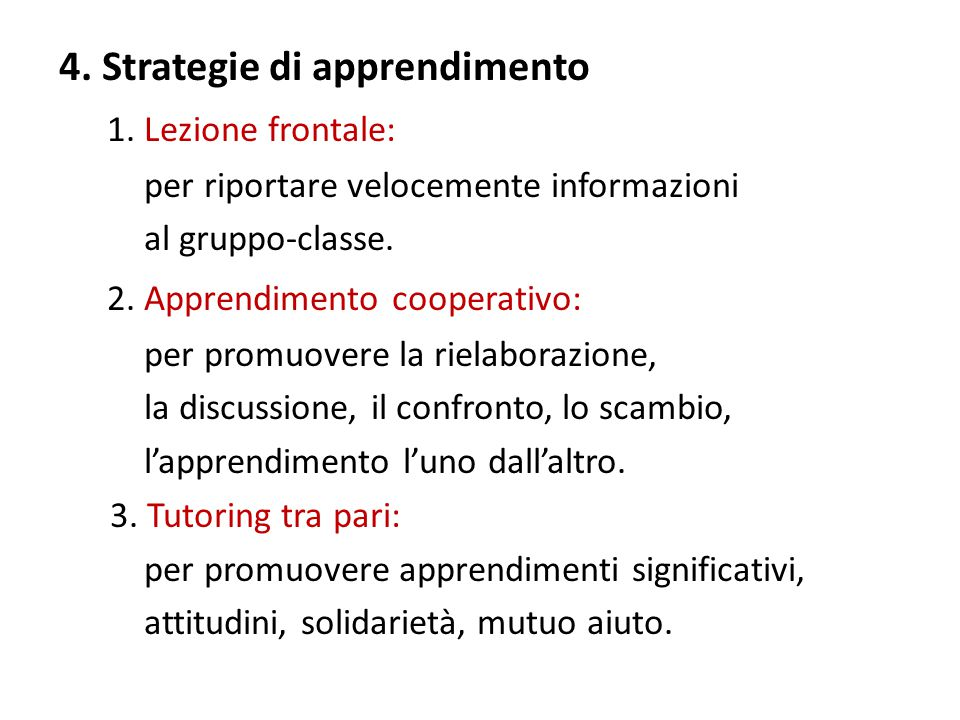 4. Strategie di apprendimento 1.