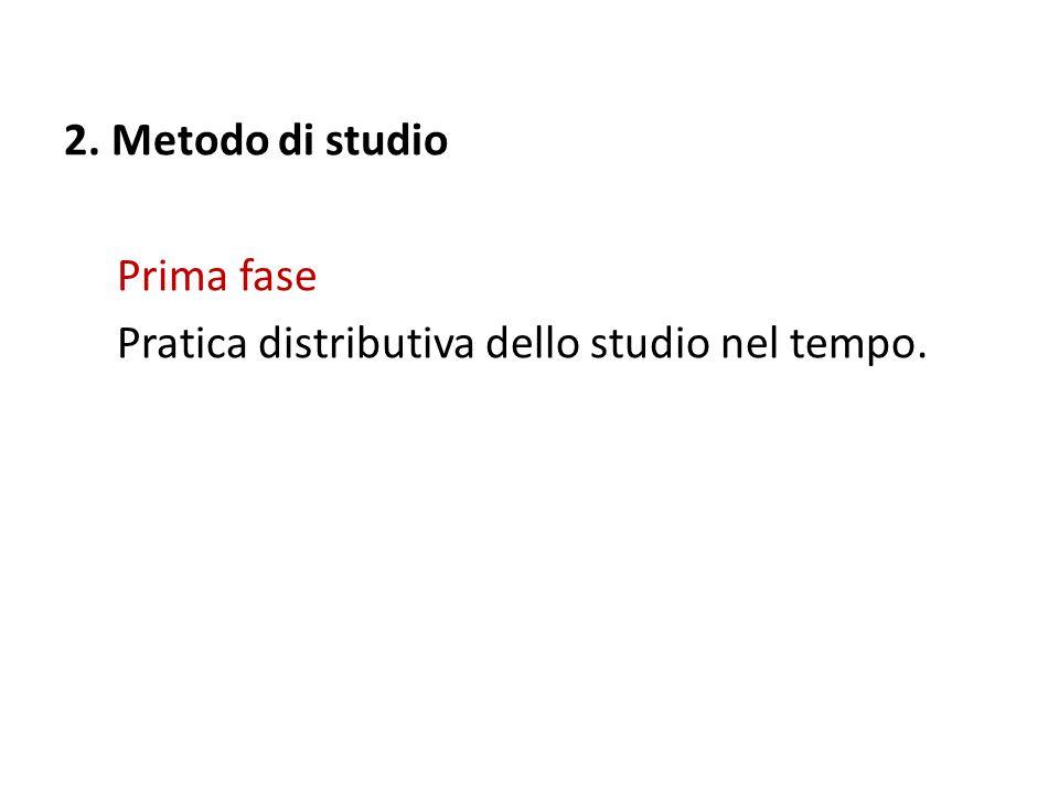 2. Metodo di studio Prima fase Pratica distributiva dello studio nel tempo.
