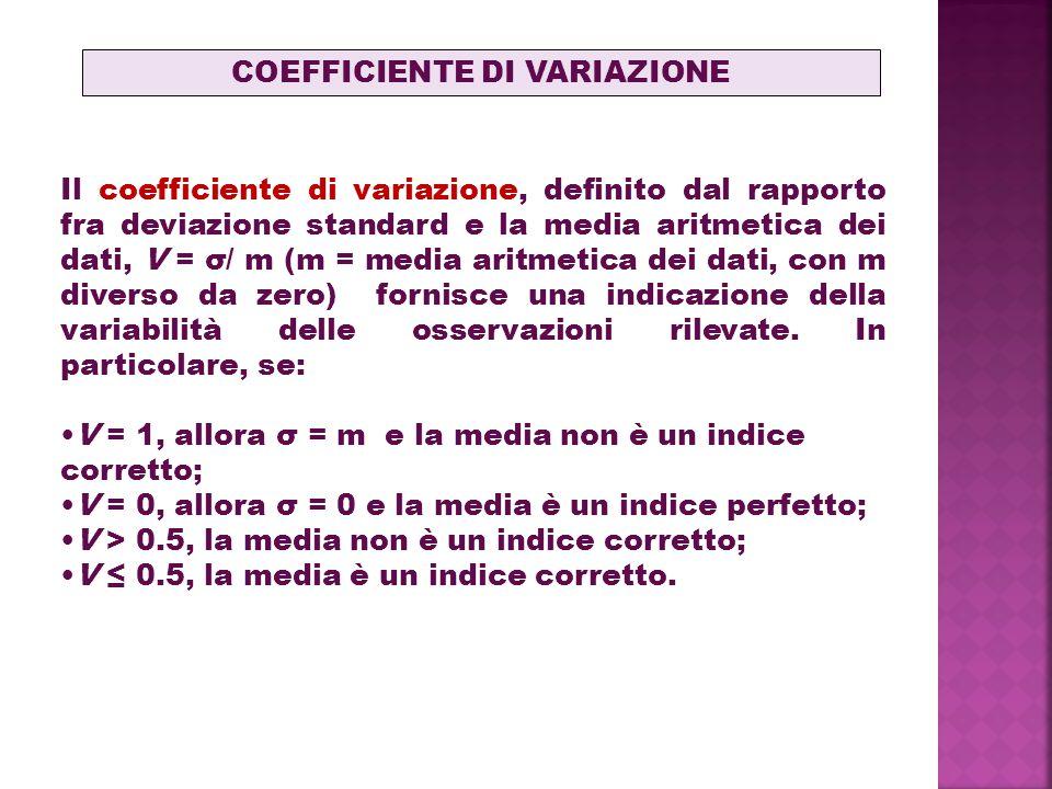 Il coefficiente di variazione, definito dal rapporto fra deviazione standard e la media aritmetica dei dati, V = σ/ m (m = media aritmetica dei dati, con m diverso da zero) fornisce una indicazione della variabilità delle osservazioni rilevate.