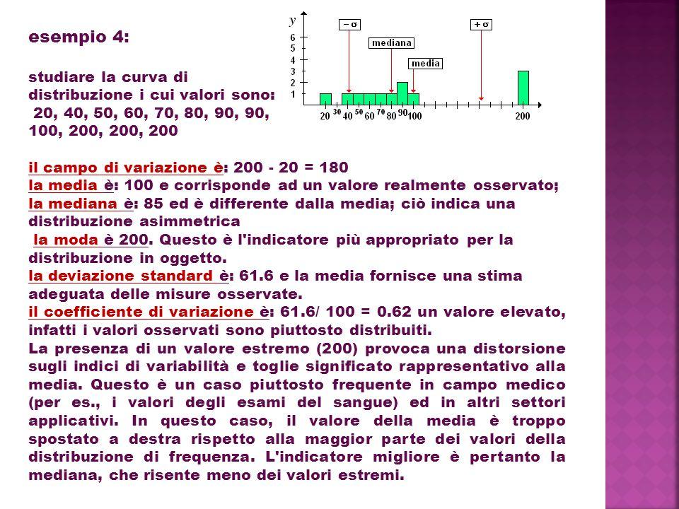 esempio 4: studiare la curva di distribuzione i cui valori sono: 20, 40, 50, 60, 70, 80, 90, 90, 100, 200, 200, 200 il campo di variazione è: 200 - 20 = 180 la media è: 100 e corrisponde ad un valore realmente osservato; la mediana è: 85 ed è differente dalla media; ciò indica una distribuzione asimmetrica la moda è 200.