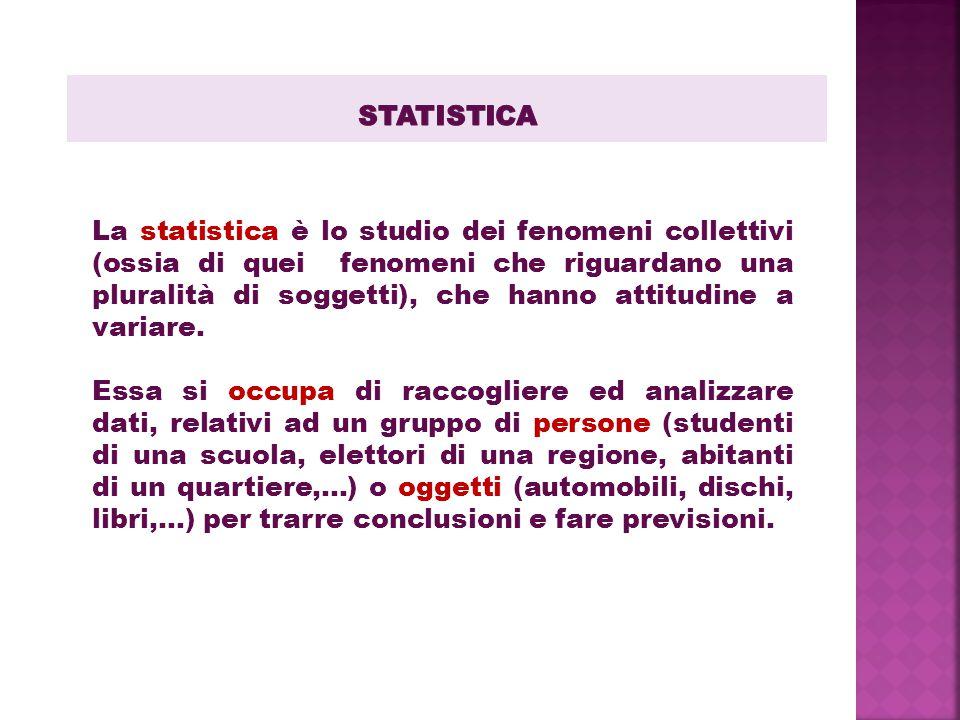 La statistica è lo studio dei fenomeni collettivi (ossia di quei fenomeni che riguardano una pluralità di soggetti), che hanno attitudine a variare.