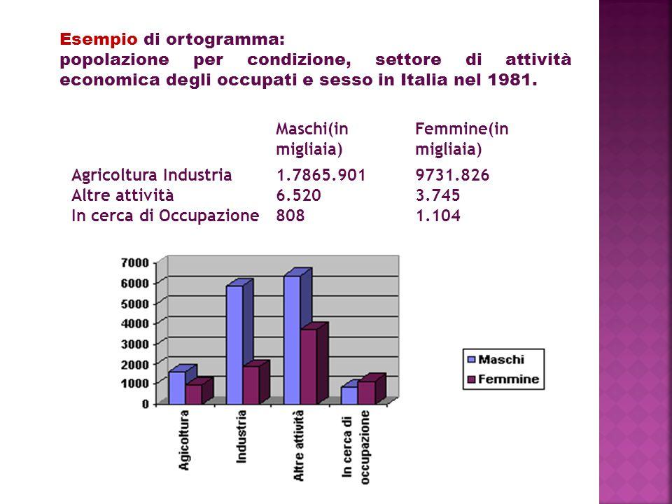 Maschi(in migliaia) Femmine(in migliaia) Agricoltura Industria Altre attività In cerca di Occupazione 1.7865.901 6.520 808 9731.826 3.745 1.104 Esempio di ortogramma: popolazione per condizione, settore di attività economica degli occupati e sesso in Italia nel 1981.